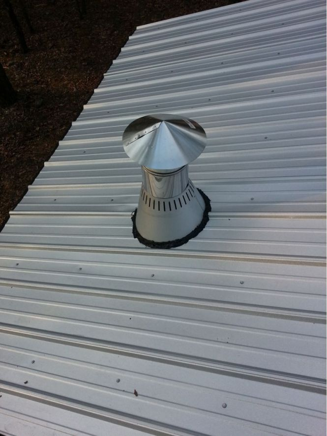 Chimney Snow Ice Guards On A Steel Roof Slideshow You My Woodstove Thru Metal