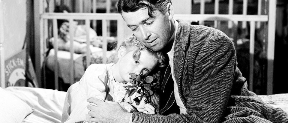 James Stewart and Karolyn Grimes in It's A Wonderful Life