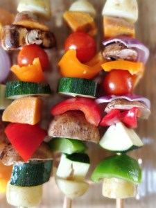 prepped veg bbq skewers