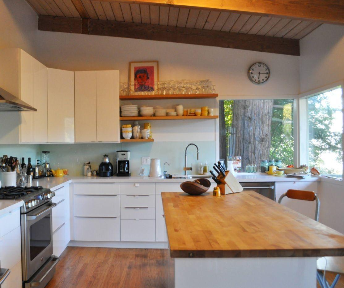 Butcher Block Countertop in Modern Kitchen Interior ... on Kitchen Counter Decor Modern  id=91130