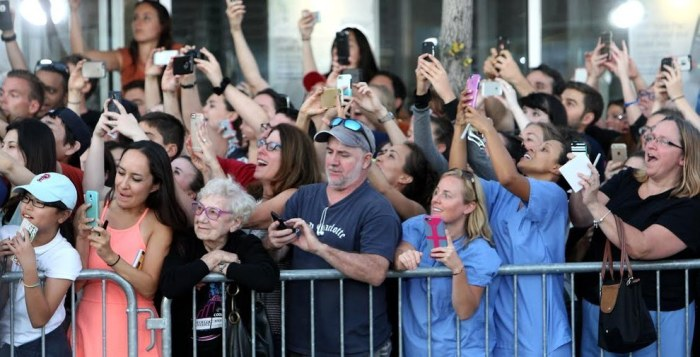 Woman Not on Phone during Papal Visit