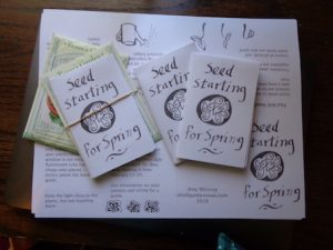 Seed Starting Zine contains basic information about how to start seeds indoors to grow transplants for your garden