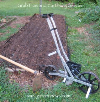 An Earthway seeder like this works well when planting seeds in the garden, for in an in-ground garden. It spaces seeds evenly and at the depth you set -- less strain on your back, too.