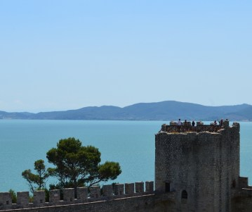 View of Lake Trasimeno from the fort at Castiglione del Lago.
