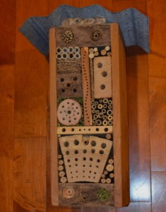 My husband made this bee hotel for tunnel nesting bees.