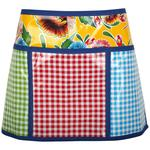 Oilcloth half apron with three gingham check pockets and yellow floral background.