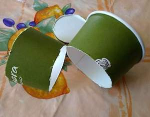 Paper cup cut apart to make protective collars.