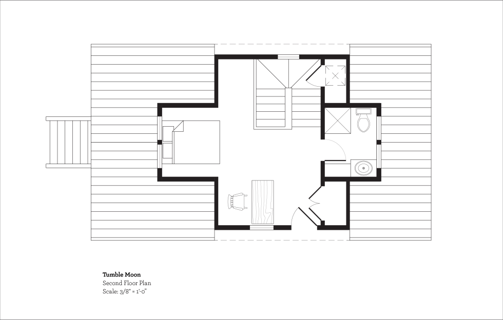 (above) The second floor with the master bedroom and bath has a total of 290 square feet. The washer and dryer is located in a closet on the middle staircase landing. The exterior door is for emergency escape, but I don't know what the escape ladder will be yet.