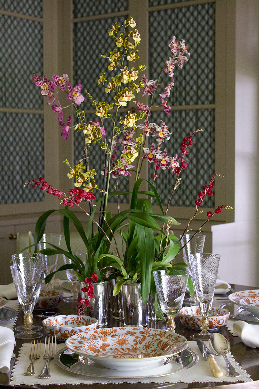 (above) Now you can see the entire centerpiece. I purchased these orchids at Nicholson-Hardie and just dropped them, pot and all, into the silver cups. It was a quick easy solution with no fuss or muss.