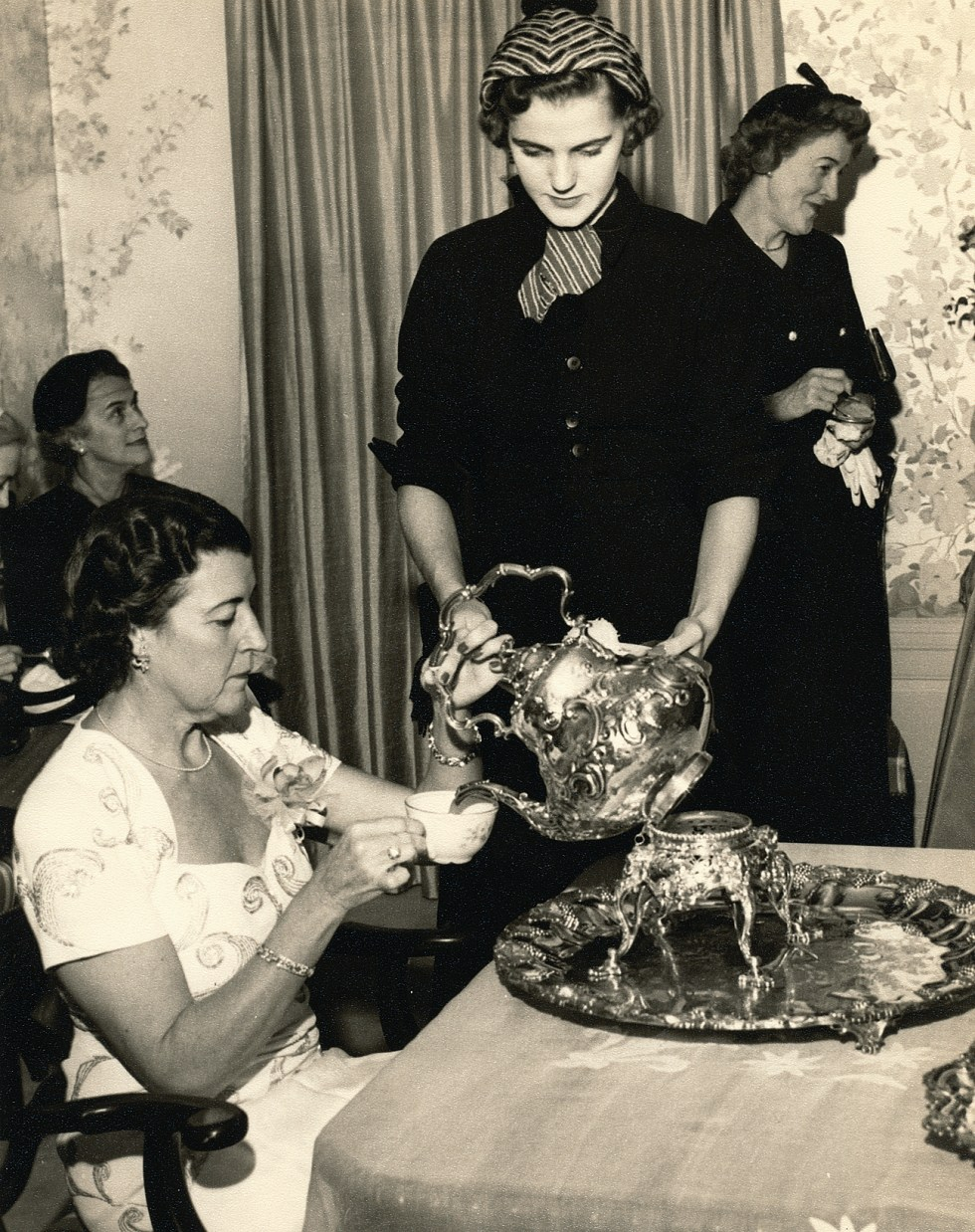 (above) Here my poor mother is pouring tea. She and I both hated teas. The same goes for luncheons.
