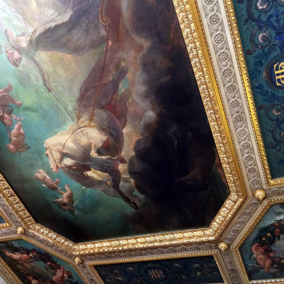(above) The Luxembourg Palace in now The French Senate and is only open to the public one weekend of the year. Originally built for Marie de Médicis, it was enlarged and remodeled as a legislative building after the French Revolution. This ceiling belongs to a reception room at the top of the neoclassical stair of honor. At one time the stair had been a long gallery where the famous Ruben paintings of Marie de Médicis were displayed, and this reception room had been the Queen's chamber.