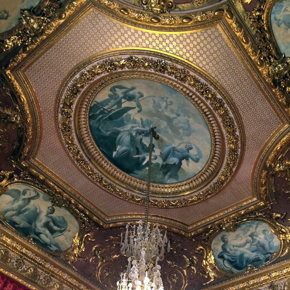 (above) The ceiling of one of the smaller reception rooms of Napoleon III's Louvre apartments.