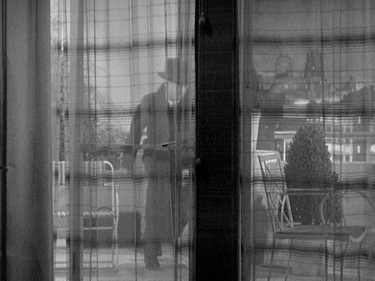 (above) At the rear of his apartment there is a wall of glass with a double door to a terrace. These sheer curtains with their subtle horizontal stripe give the impression from a distance that the wall's glass panels have horizontal transoms and are made of many panes of glass.