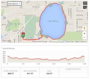 MapMyWalk; app; map; walking; exercise; tracking; Lake Calhoun; Minneapolis; Minnesota