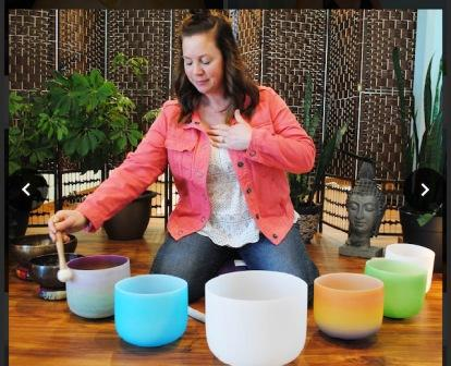How to Raise Your Vibes with Maria the Energy Healer, Maria with singing bowls