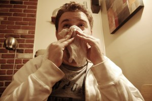 Blowing nose Josh McGinn