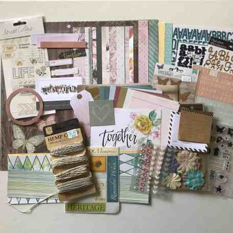 Full scrapbook kit including paper, stickers and embellishments included in my June Counterfeit Kit Challenge.