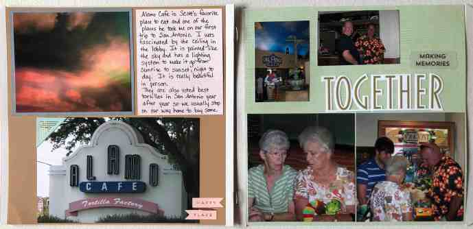 Two-page scrapbook layout with multiple pictures, stickers & journaling