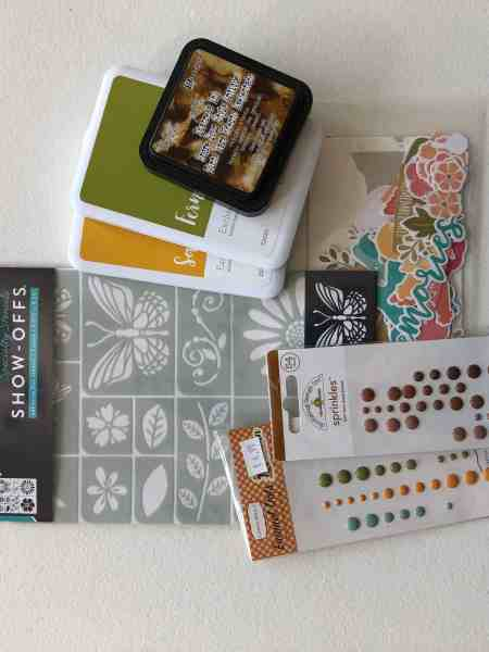 "Scrapbooking embellishments: stencil, ink pads, enamel dots, die-cuts; October Counterfeit Kit Challenge kit ""Memories of Home"""