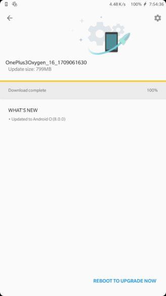 Captura filtrada que muestra la versión de OxygenOS de Android Oreo para el OnePlus 3.
