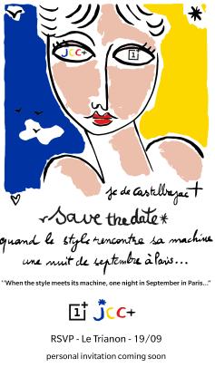 Invitación al evento de OnePlus para presentar el trabajo de Jean-Charles de Castelbajac.