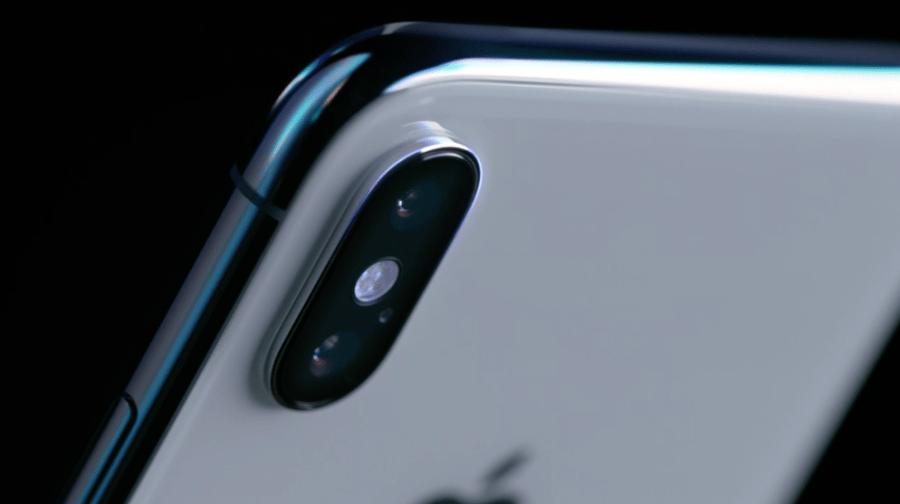 """Fotografía de la cámara dual posterior del iPhone X color """"Space Gray""""."""
