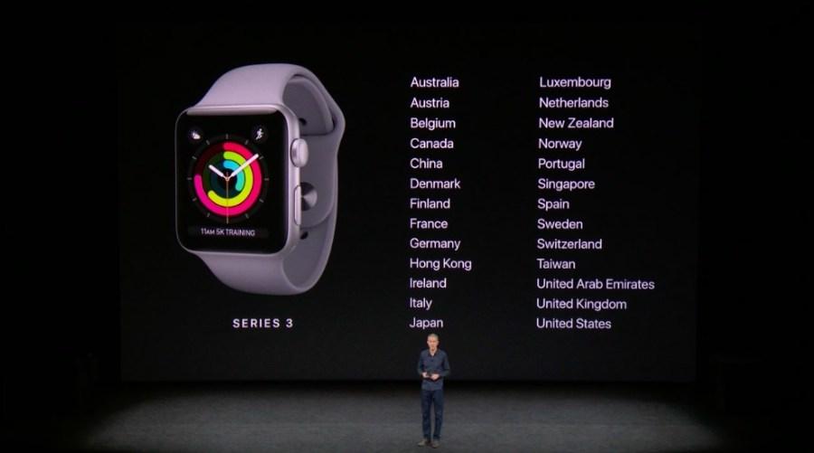 Países en que estarán disponibles los nuevos Apple Watch.