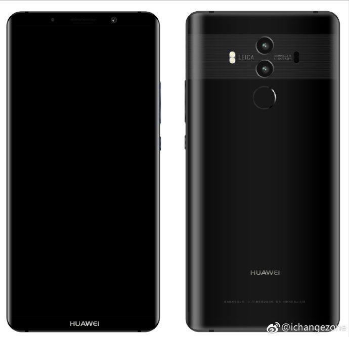 Render filtrado del frente y el dorso del Huawei Mate 10 Pro negro.