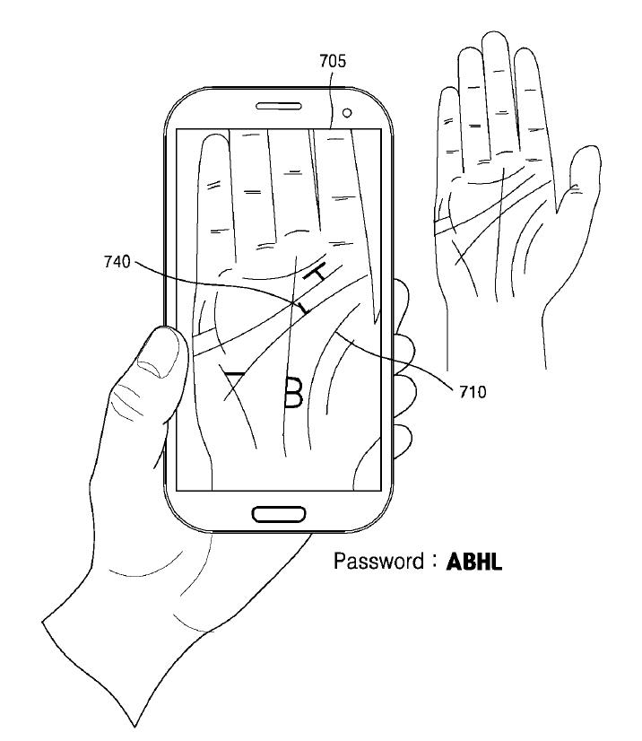 Imagen oficial e ilustrativa de la pantente de sensor de reconocimiento de palma de mano de Samsung.
