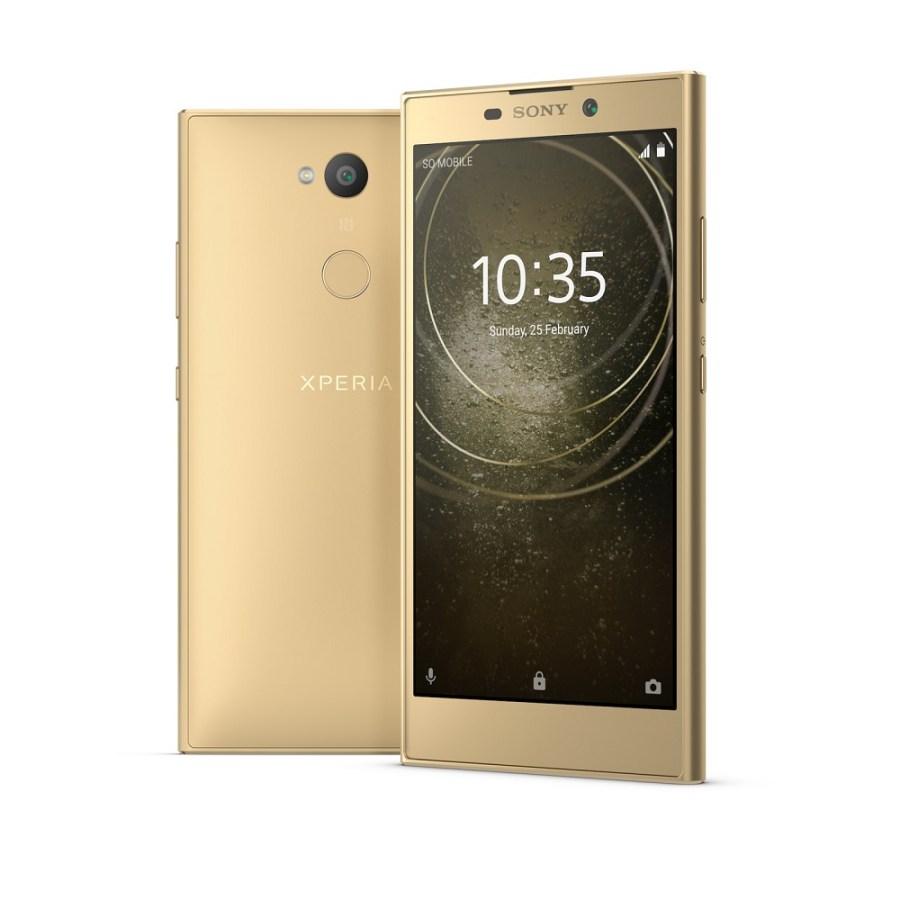 Render oficial del frente y dorso del Sony Xperia L2 color dorado.