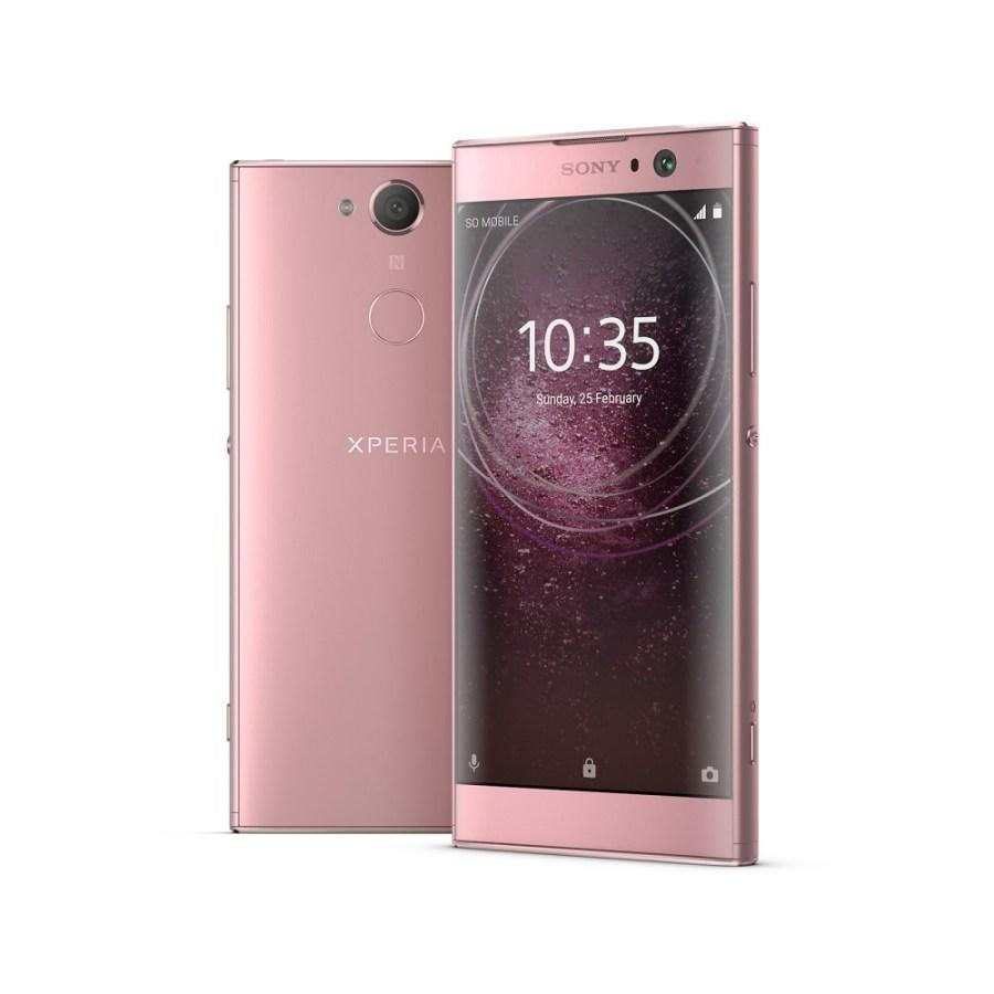 Render oficial del frente y dorso del Sony Xperia XA2 color rosa.