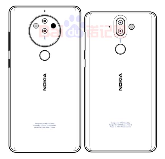 Render del supuesto diseño posterior del Nokia 8 Pro (izquierda) junto al Nokia 9 (derecha).