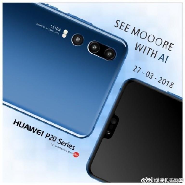 Primeros renders publicitarios oficiales del Huawei P20 color azul con cámara dorsal triple.