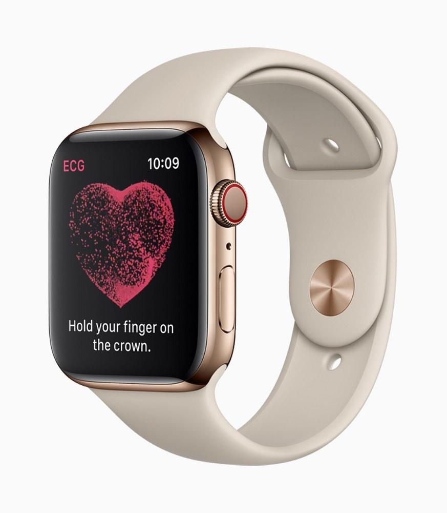 """Render oficial del modo """"Electrocardiograma"""" de la Apple Watch Series 4."""