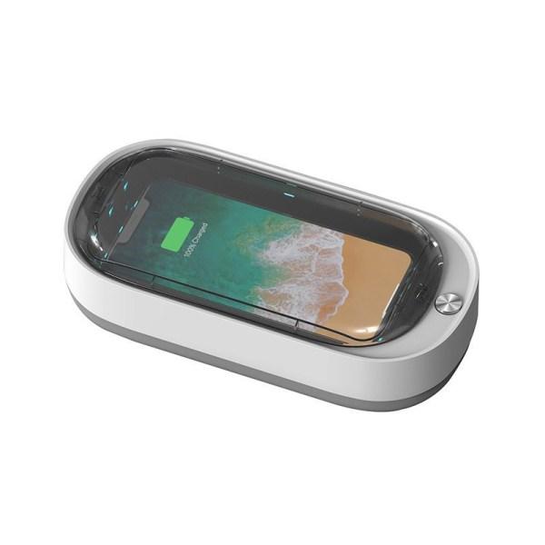Sterilizator UV-C si UV-A SmartGSM® cu Incarcare Wireless 15W si Difuzor Odorizant intern, Alb
