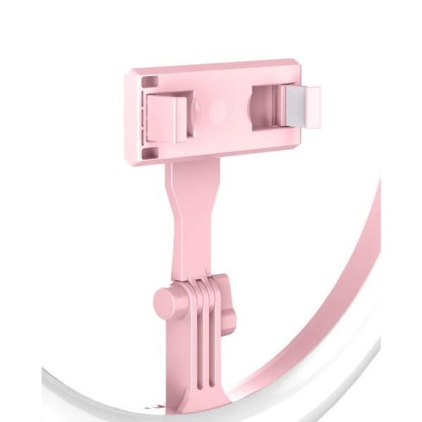 Lampa roz circulara Ring Light Selfie SmartGSM cu suport de telefon si trepied reglabil pe inaltime 52-170 cm, 144 Leduri, Diametru 29 cm