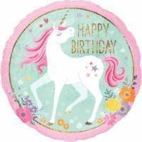 Balon Folie Unicorn Happy Birthday, 45 cm