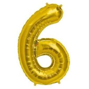 Balon folie cifra 6 auriu (gold) 100 cm