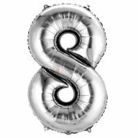 Balon folie cifra 8 argintiu (silver) 100 cm