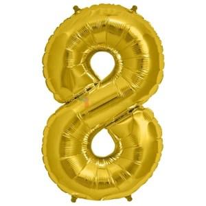 Balon folie cifra 8 auriu (gold) 100 cm