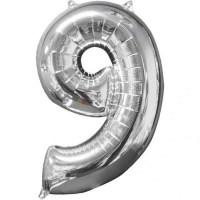Balon folie cifra 9 argintiu (silver) 100 cm