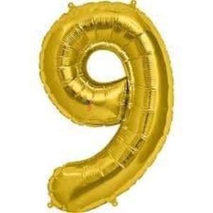 Balon folie cifra 9 auriu (gold) 100 cm