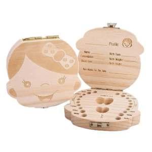 Cutiuta pastrare dinti de lapte FETITA, din lemn, 12,5 cm