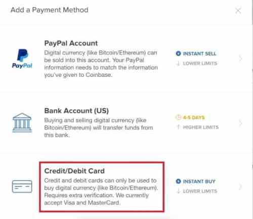 Coinbase Payment Method Step 4
