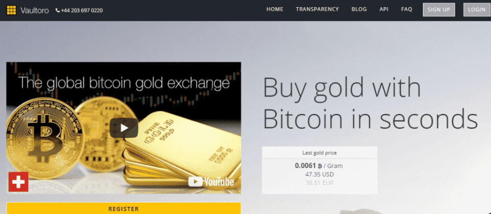 Vaultoro Website Home - Buy Gold With Bitcoin
