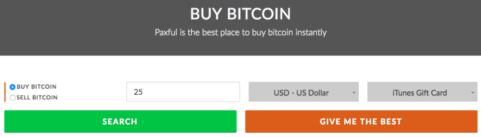 Paxful - Buy Bitcoin Instantly Screen