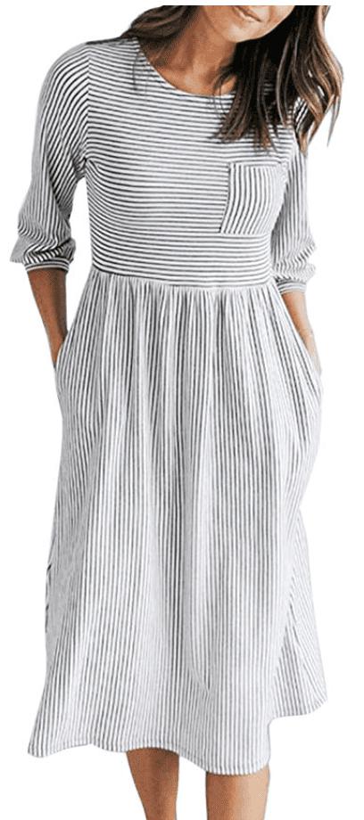 fall striped midi dress