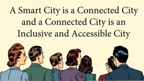 Cartoon-Audience-Looking-SmartCity-Chaulkboard