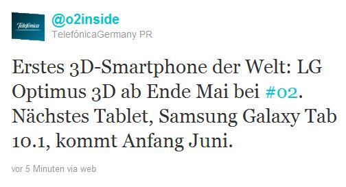 O2 Galaxy Tab 10.1 Optimus 3D Twitter