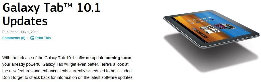 Galaxy Tab 10.1 TouchWiz Update